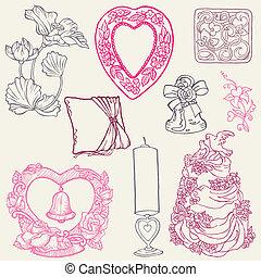 beau, éléments, -, vecteur, remettre ensemble, mariage, dessiné