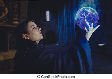 beau, Énergie, jeune,  sphère, gothique,  girl, magicien, Sorcier