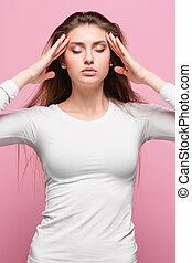 beau, épaules, brunette, temples, elle, jeune, tension, toucher, nu, portrait, sentiment