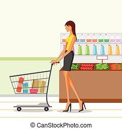 beau, épicerie, achats femme