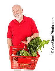 beau, épicerie, acheteur, personne agee