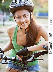 beau, équitation, femme, vélo, jeune