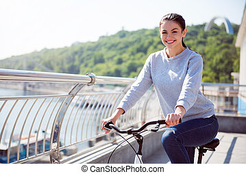 beau, équitation, femme, vélo
