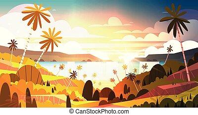 beau, été, affiche, bord mer, arbres, exotique, coucher soleil, plage paume, paysage