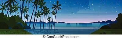 beau, été, après, bord mer, vacances, rivage, concept, coucher soleil, mer, plage nuit, paysage