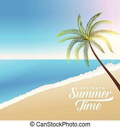 beau, été, arbre, scène, plage paume