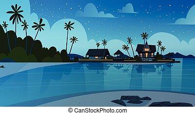 beau, été, bord mer, villa, hôtel, vacances, rivage, concept, mer, plage nuit, paysage
