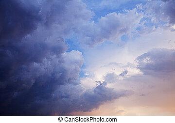 beau, été, ciel, nuageux