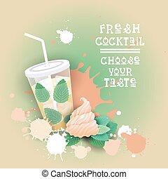 beau, été, cocktail, nourriture, doux, frais, délicieux, dessert, logo, bannière