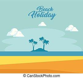beau, été, conception, temps, plage, paysage