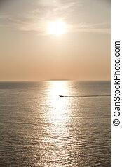 beau, été, coucher soleil, levers de soleil, marine