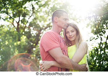 beau, été, couple, love., ensoleillé, jeune, nature.