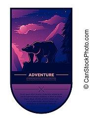 beau, été, extérieur, camping, randonnée, écusson, vendange, élément, coucher soleil, paysage, étiquette, aventure, ours, conception, montagnes, retro