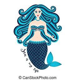 beau, été, femme, girl., nymphe, hair., mermaid., nixie, main, summertime., mer, tail., sauvage, dessiné, marin, design.