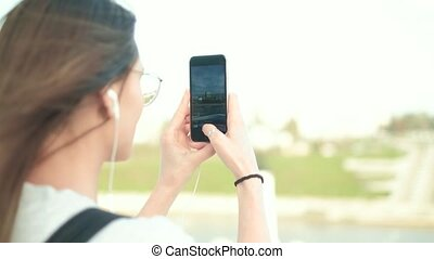 beau, été, femme, images, prendre, téléphone, 4k