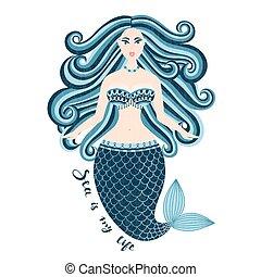 beau, été, femme, mer, tail., mermaid., nixie, main, girl., été, hair., sauvage, dessiné, marin, design.