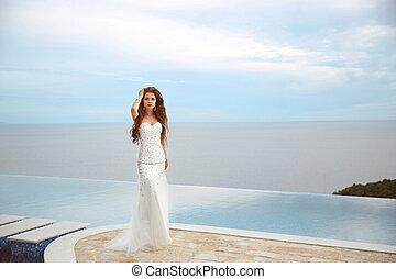 beau, été, femme, mode, infinité, recours, sur, ciel bleu, ...