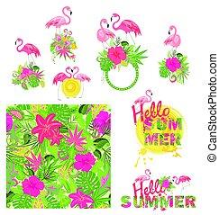 beau, été, flamant rose, lettrage, papier peint, fleurs, ...