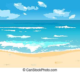 beau, été, fond, à, plage