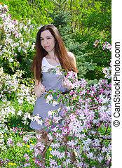 beau, été, girl, jardin