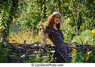 beau, été, girl, jardin, pittoresque