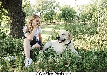 beau, été, girl, parc, chien