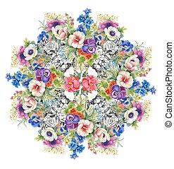 beau, été, jardin, aquarelle, flowers., fleurir