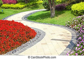 beau, été, jardin, enroulement, par, manière, walkway, sien