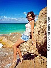 beau, été, jeune fille, plage, heureux