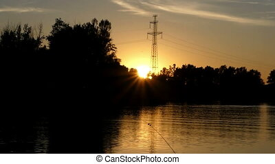 beau, été, lac, rotation, coucher soleil, fixe