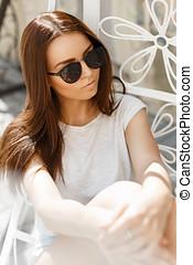 beau, été, lunettes soleil, ensoleillé, repos, girl, jour