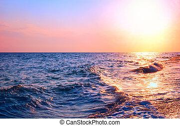 beau, été, naturel, marine, sunrise., pendant