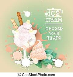 beau, été, nourriture, doux, glace, délicieux, dessert, logo, bannière, crème