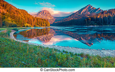 beau, été, obersee, coloré, lac, suisse, incredibly, levers de soleil
