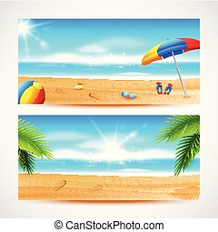 beau, été, panorama., mer, fond, plage