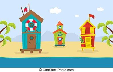 beau, été, paysage, mer, bois, plage, pavillons, illustration, exotique, vecteur, côte, gabarit, vacances, bannière