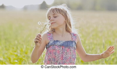 beau, été, peu, camomille, lumière, day., rotation, poser, blonds, mains, girl, fleurs