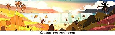 beau, été, plage, bord mer, arbres, exotique, coucher soleil, paume, horizontal, bannière, paysage