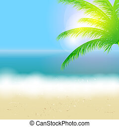 beau, été, plage, soleil, arbre, illustration, vecteur,...