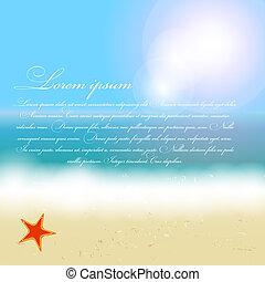 beau, été, plage, soleil, arbre, illustration, vecteur, paume, fond, mer