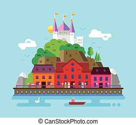 beau, été, plat, illustration, conception, paysage, européen