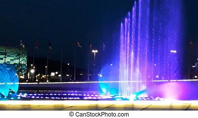beau, été, sombre, clair, drapeaux, nuit, fontaine, illumination