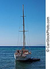beau, étés, yacht, jour