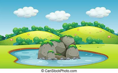 beau, étang, paysage