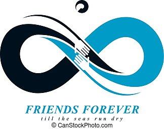 beau, éternité, amitié, toujours, deux, symboles, vecteur,...