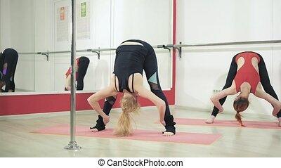 beau, étirage, studio, 4k, gymnastique, femmes
