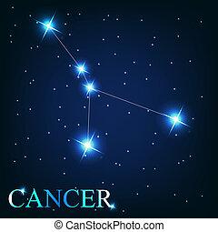 beau, étoiles, cancer, ciel, cosmique, signe, clair, vecteur...