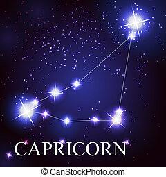 beau, étoiles, capricorne, ciel, cosmique, signe, clair, ...
