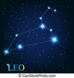 beau, étoiles, ciel, cosmique, signe, clair, vecteur, fond, zodiaque, lion