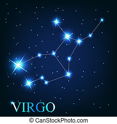 beau, étoiles, ciel, cosmique, signe, vierge, clair, vecteur...